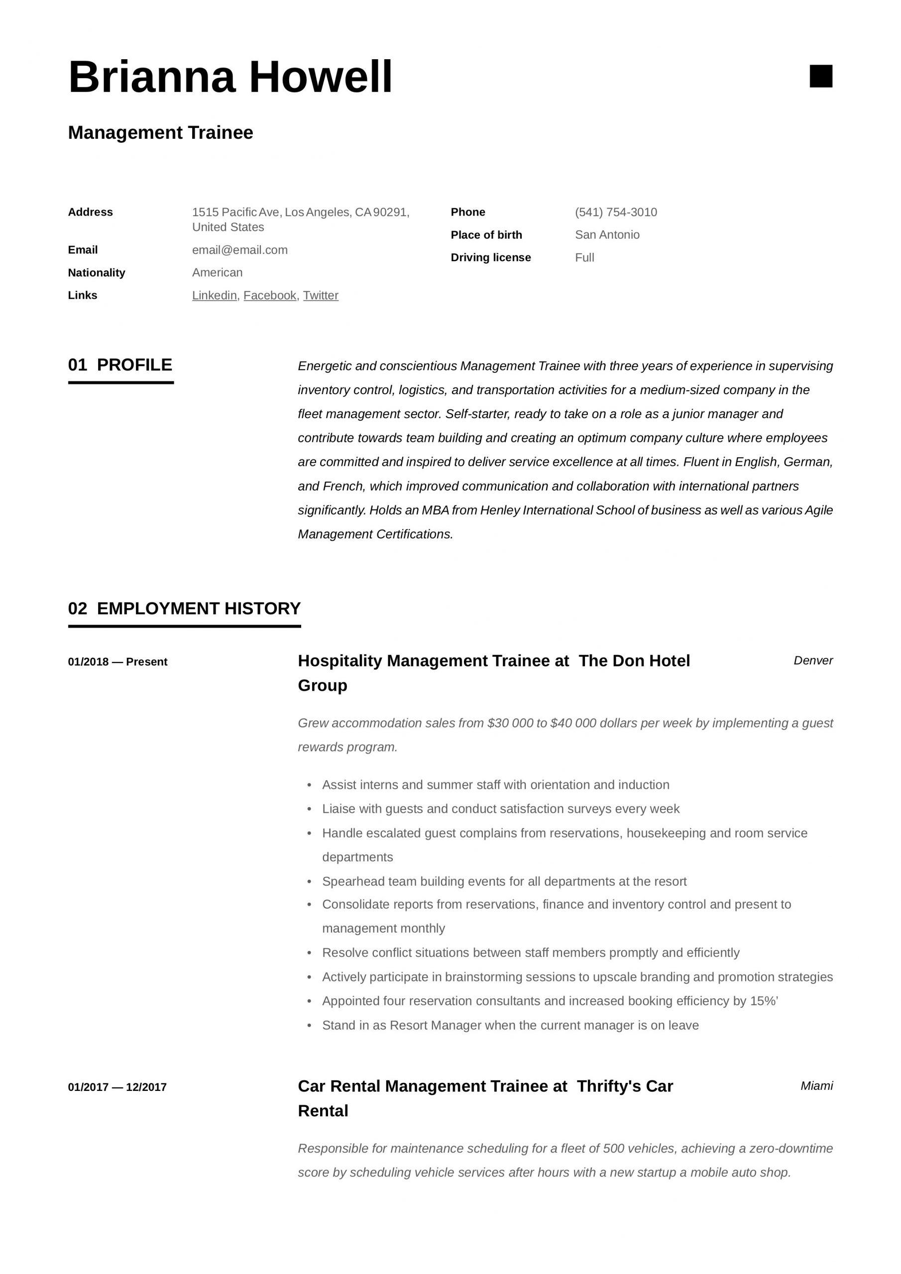 management trainee resume examplesml