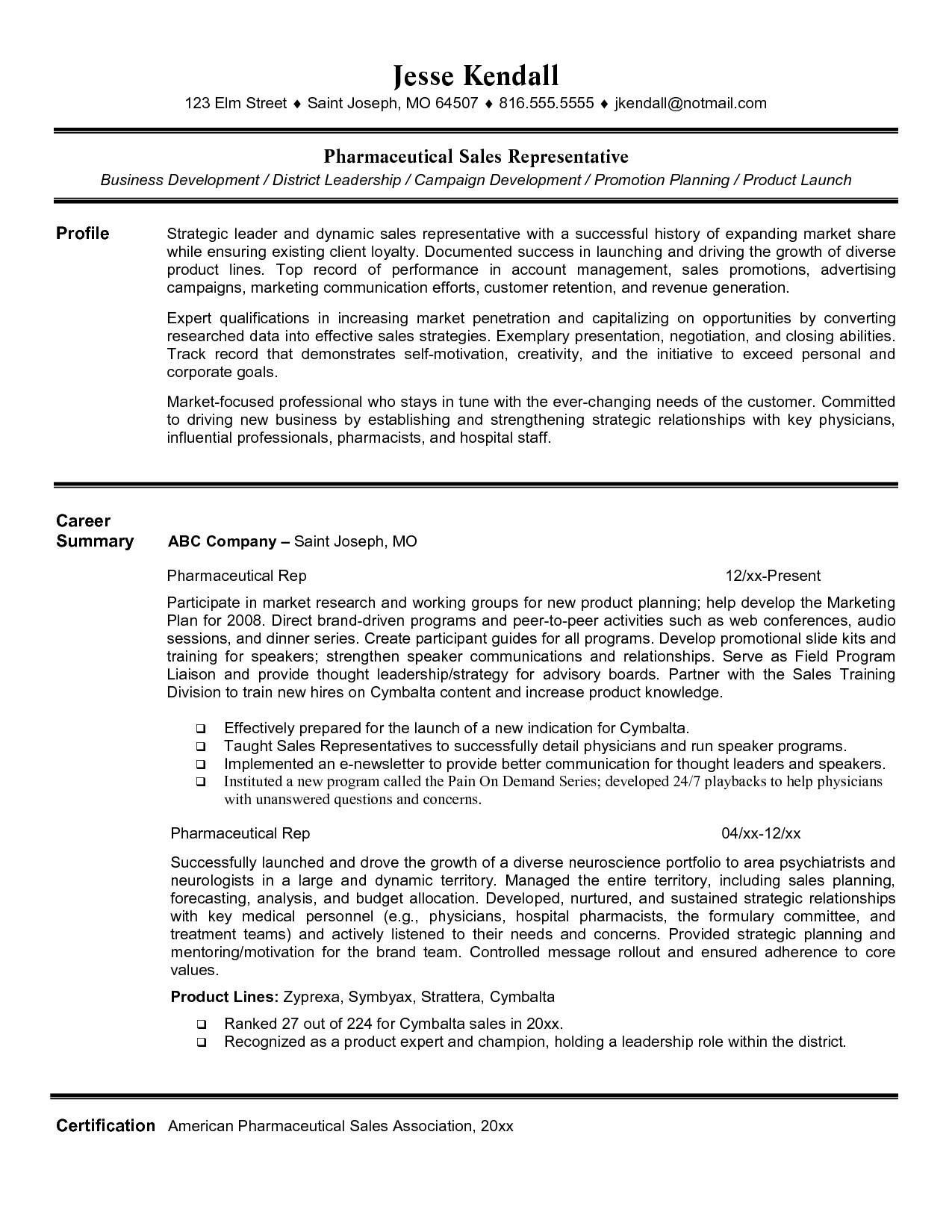pharmaceutical sales resume entry level 2390