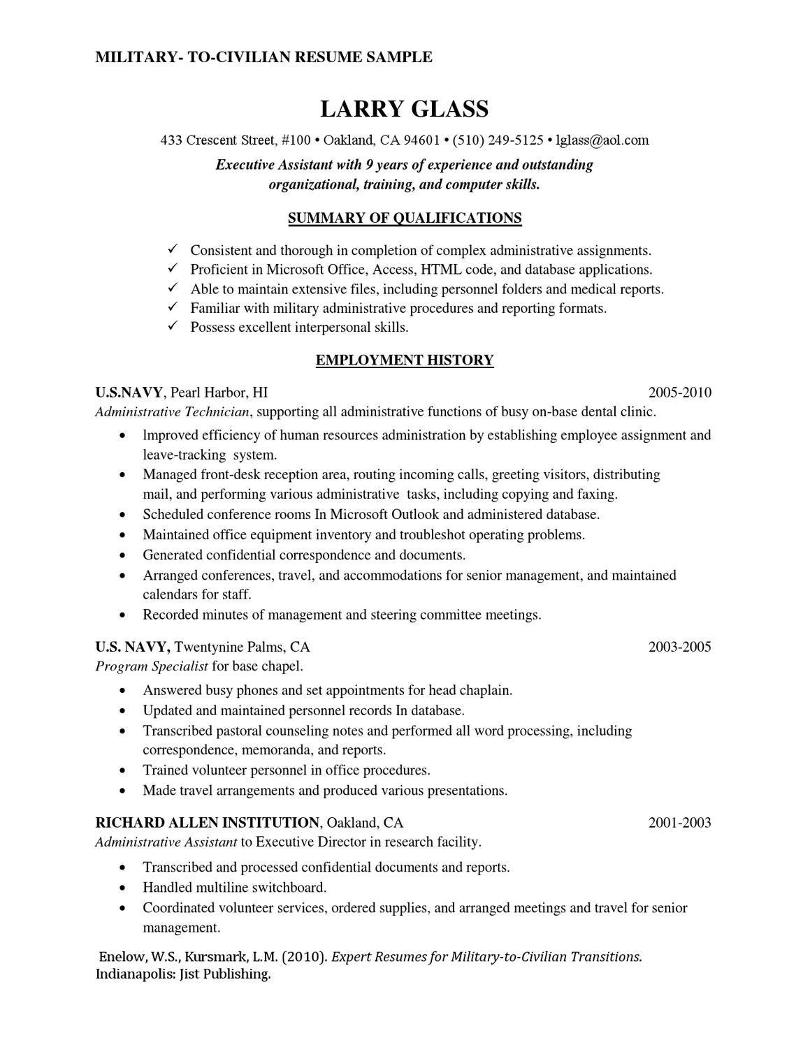 Sample Military to Civilian Transition Resume Military to Civilian Resume Sample by Rosaria Pipitone – issuu