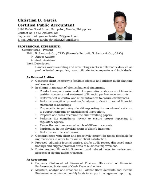 Sample Resume for Accounting Staff In the Philippines Resume 2015