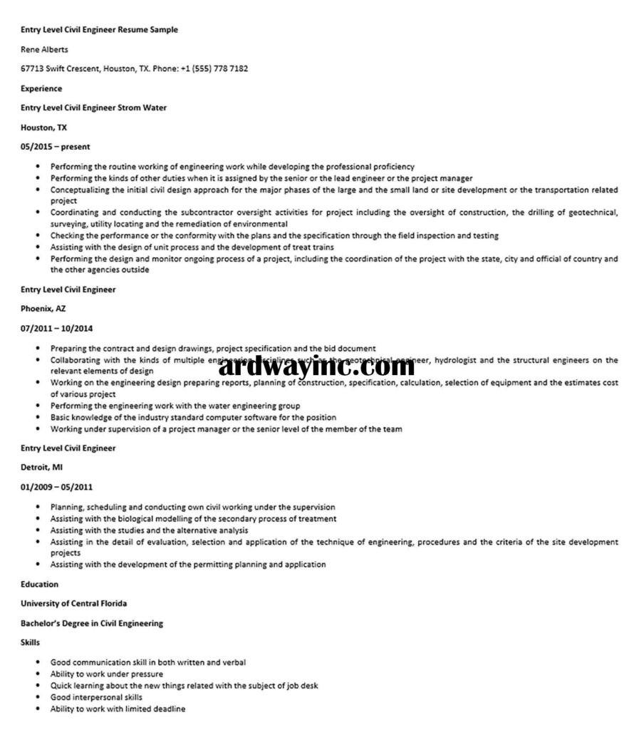 entry level civil engineer resume sample