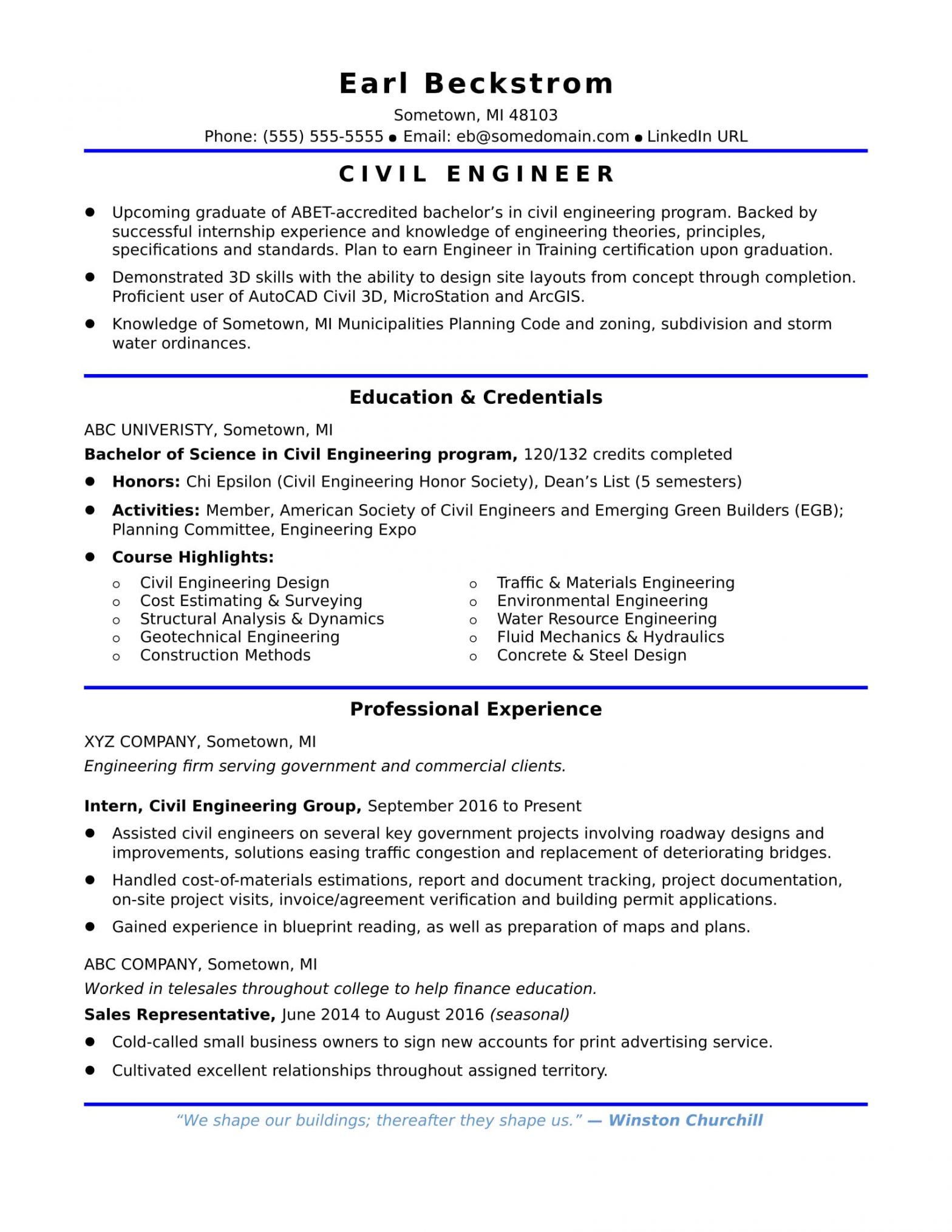 Sample Resume for Entry Level Civil Engineer Sample Resume for An Entry Level Civil Engineer