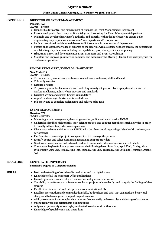 event management resume sample