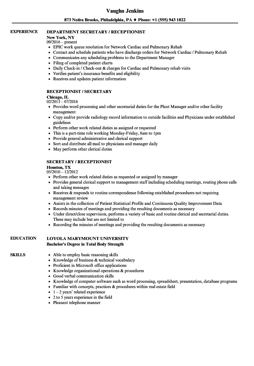 receptionist administrative assistant resume samples