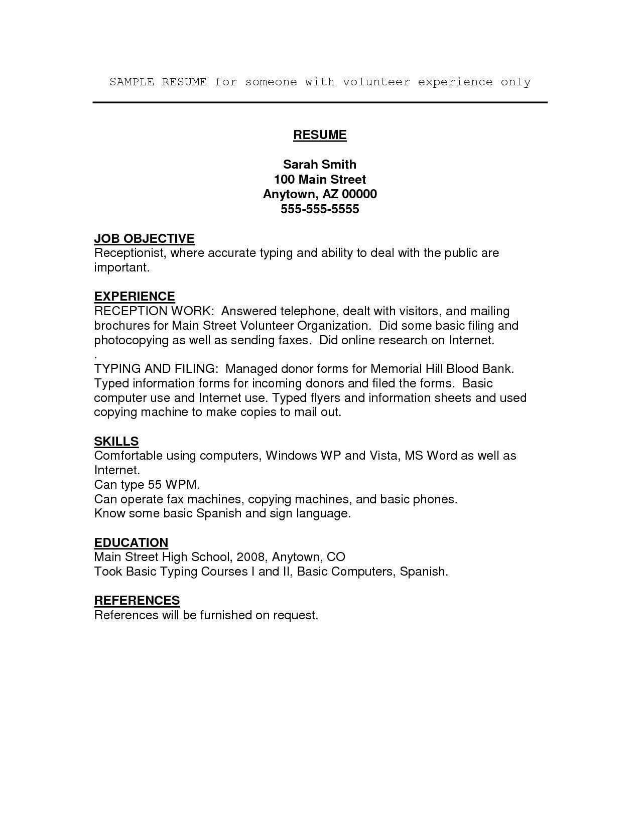 Sample Resume for Highschool Students with Volunteer Experience Free Volunteer Resume Templates - Resume Examples Basic Resume ...