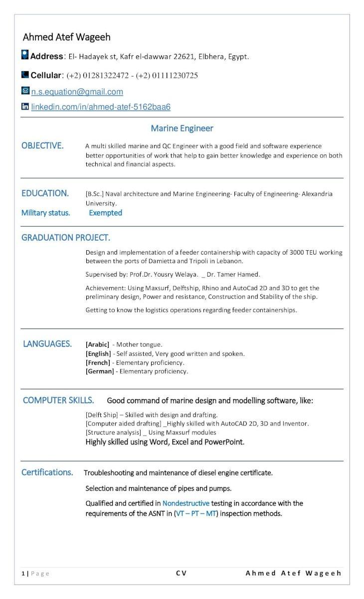 marine engineer cv