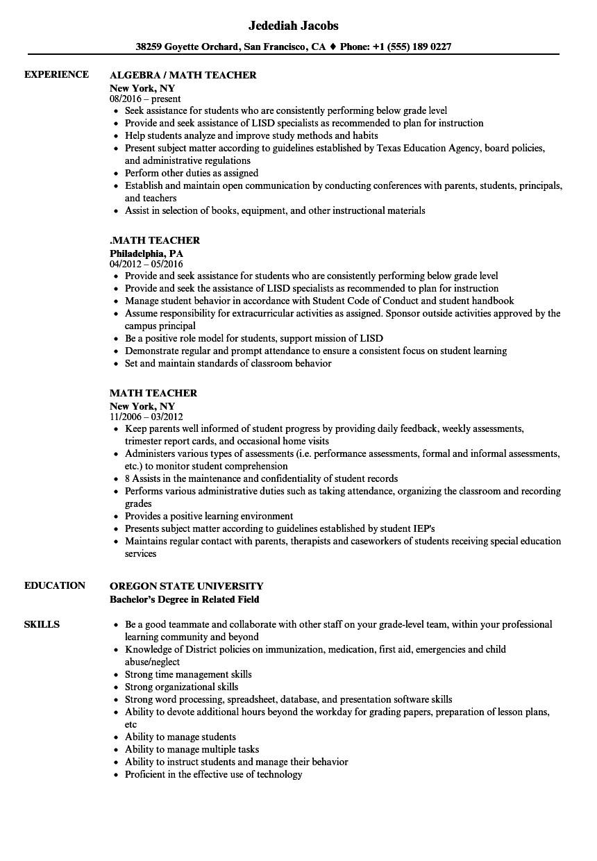 maths teacher cv pdf