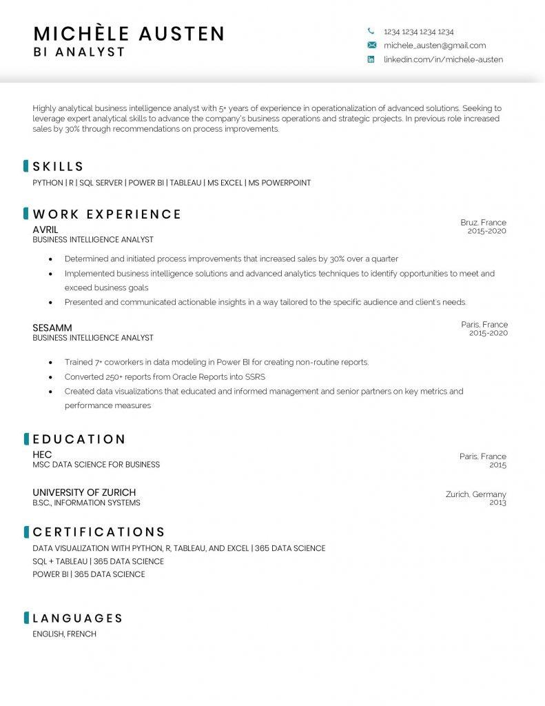 bi analyst resume sample