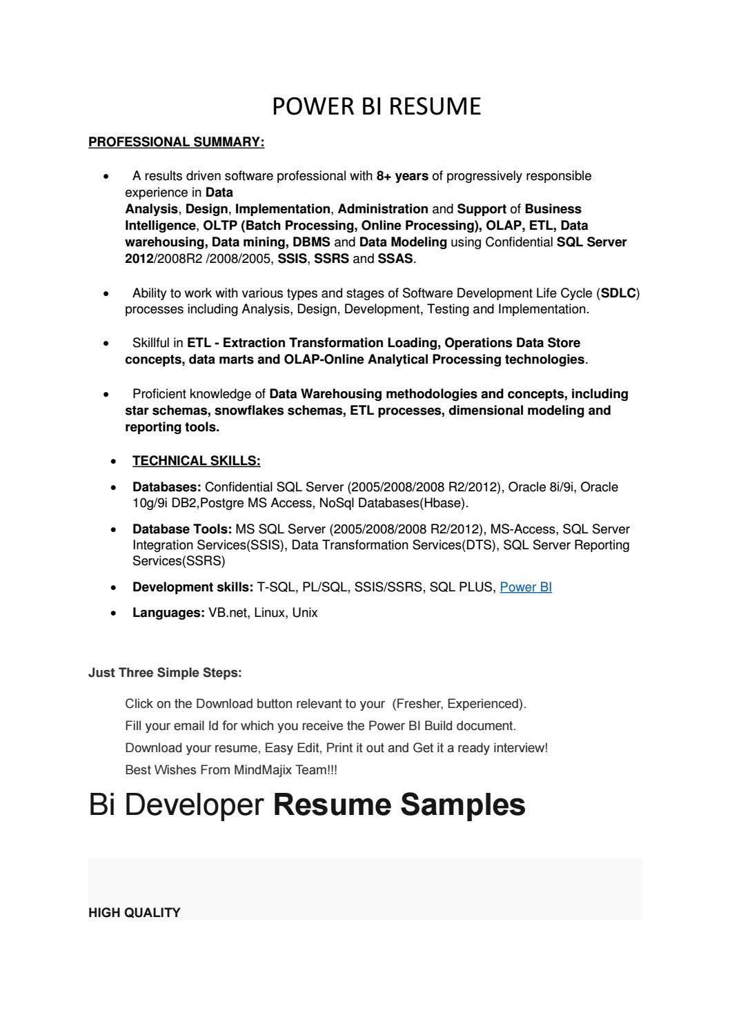 Sample Resume for Power Bi Developer Power Bi Resume by Lillydass12 - issuu