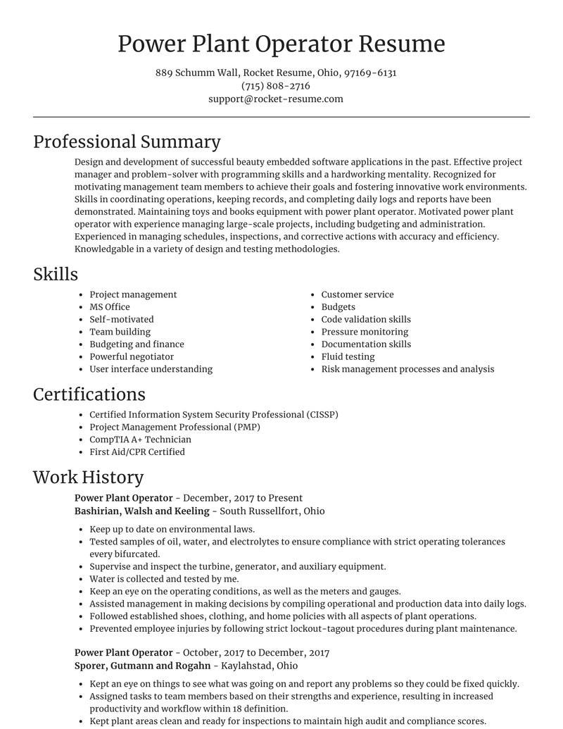 Sample Resume for Power Plant Operator Power Plant Operator Resume tool & Suggestions Rocket Resume