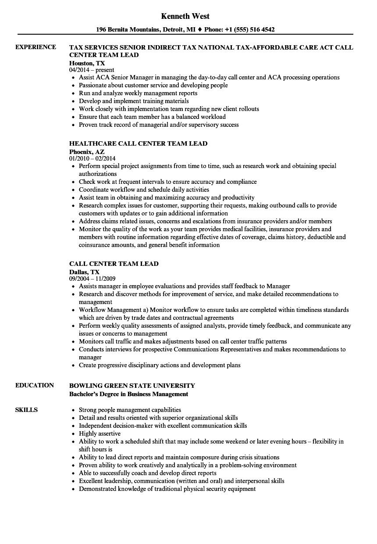 team lead job description