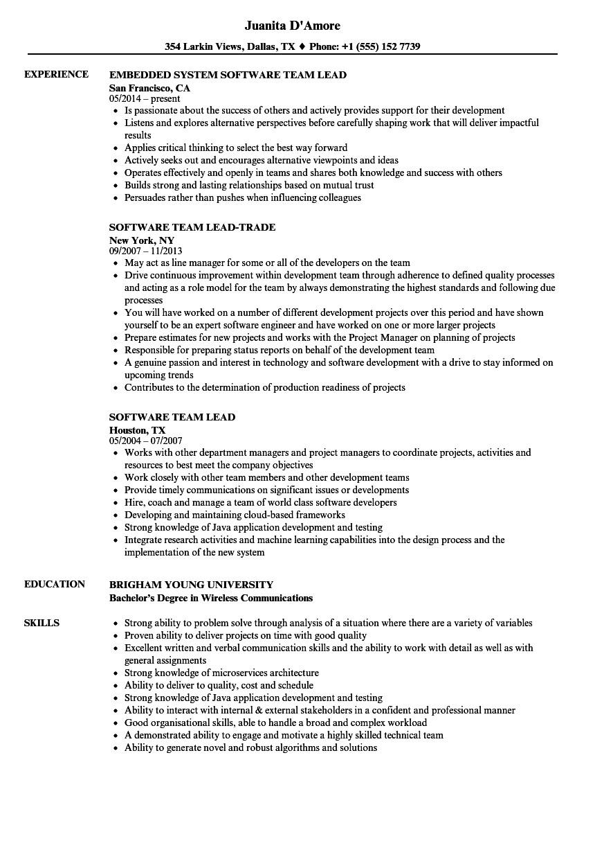 software team lead resume sample