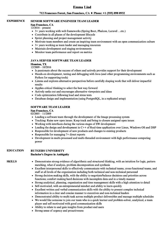 Sample Resume for Team Leader In software software Team Leader Resume Samples