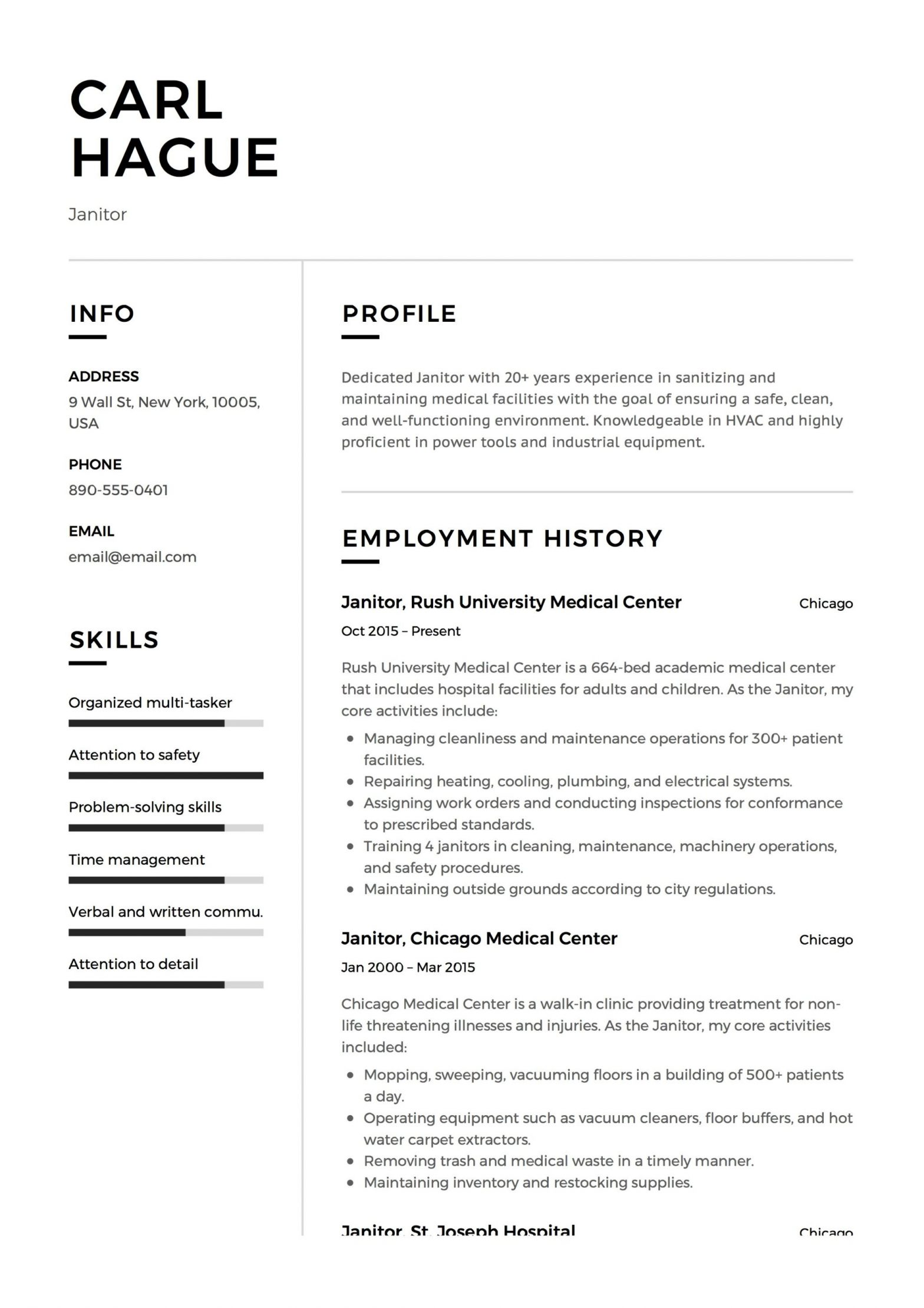 Sample Resume Objective for Janitorial Position Janitor Resume October 2021