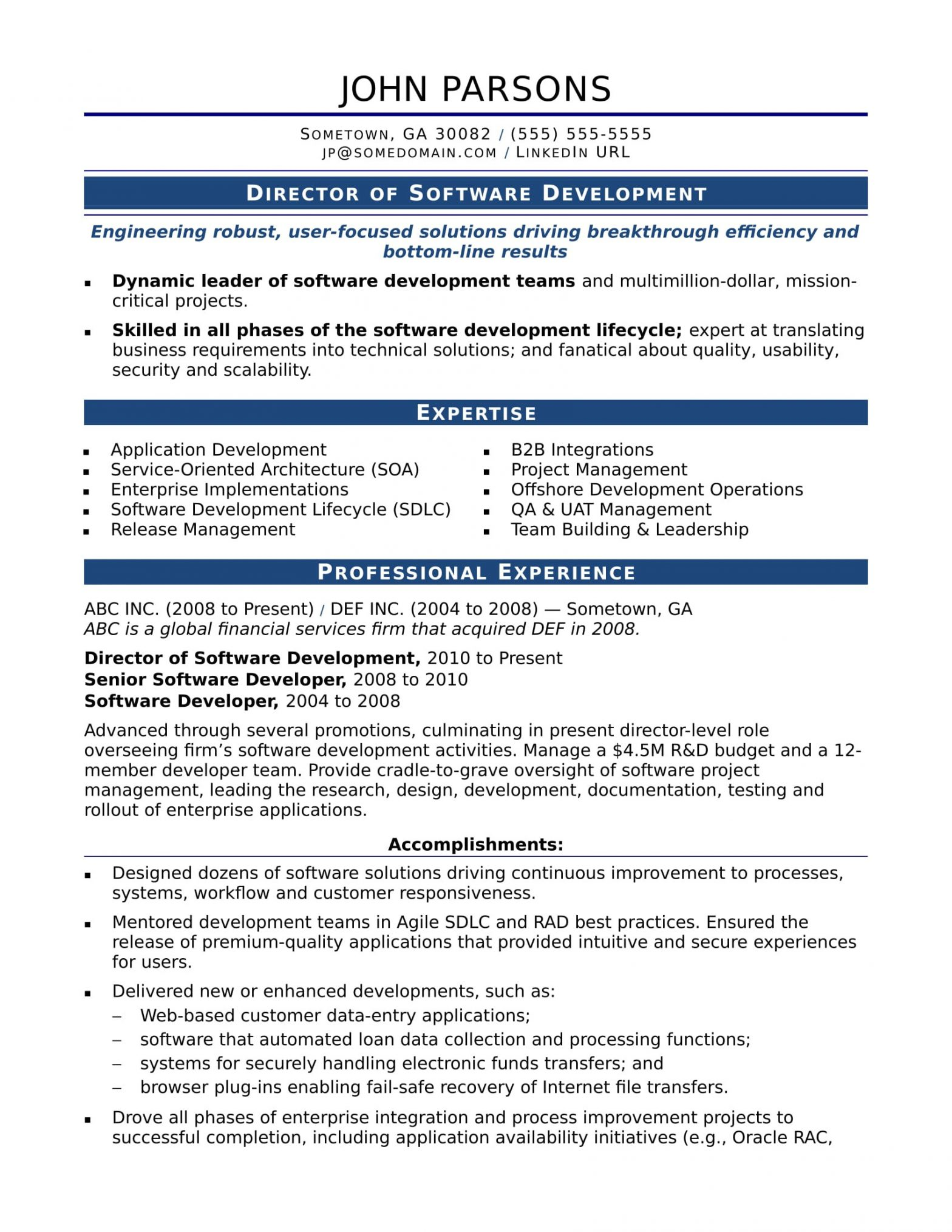 Sample Resume Of 2 Years Experience software Engineer Sample Resume for An Experienced It Developer Monster.com