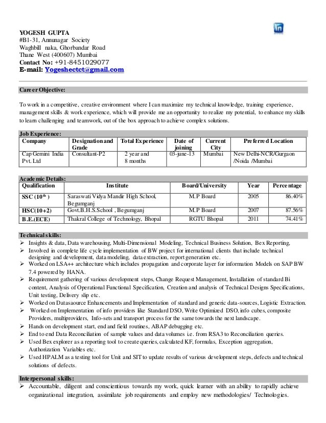 resume 2 years experience sle