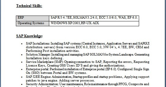 sap basis consultant resume with 2