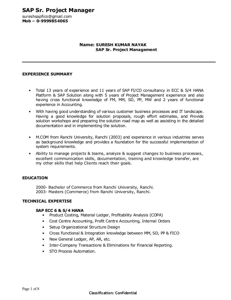 Sap Project Manager Resume Sample Doc Suresh Sap Project Manager Resume