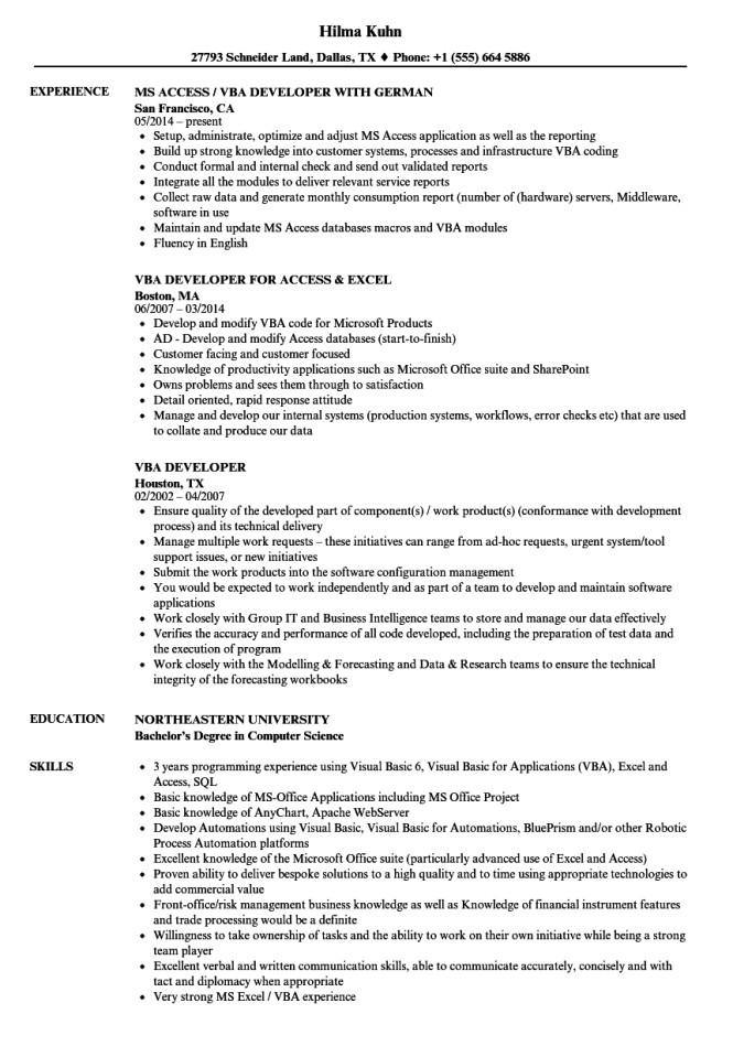 Vba Developer Macros Excel Sample Resume Excel Expert Resume Resume Sample