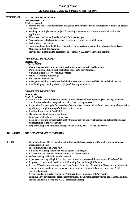 excel vba developer job description
