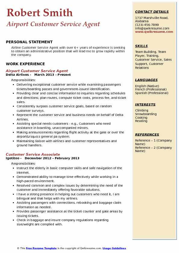 Airport Customer Service Agent Resume Sample Airport Customer Service Agent Resume Samples