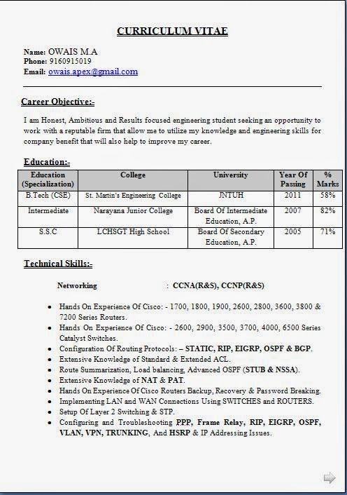 ccna network engineer fresher resume