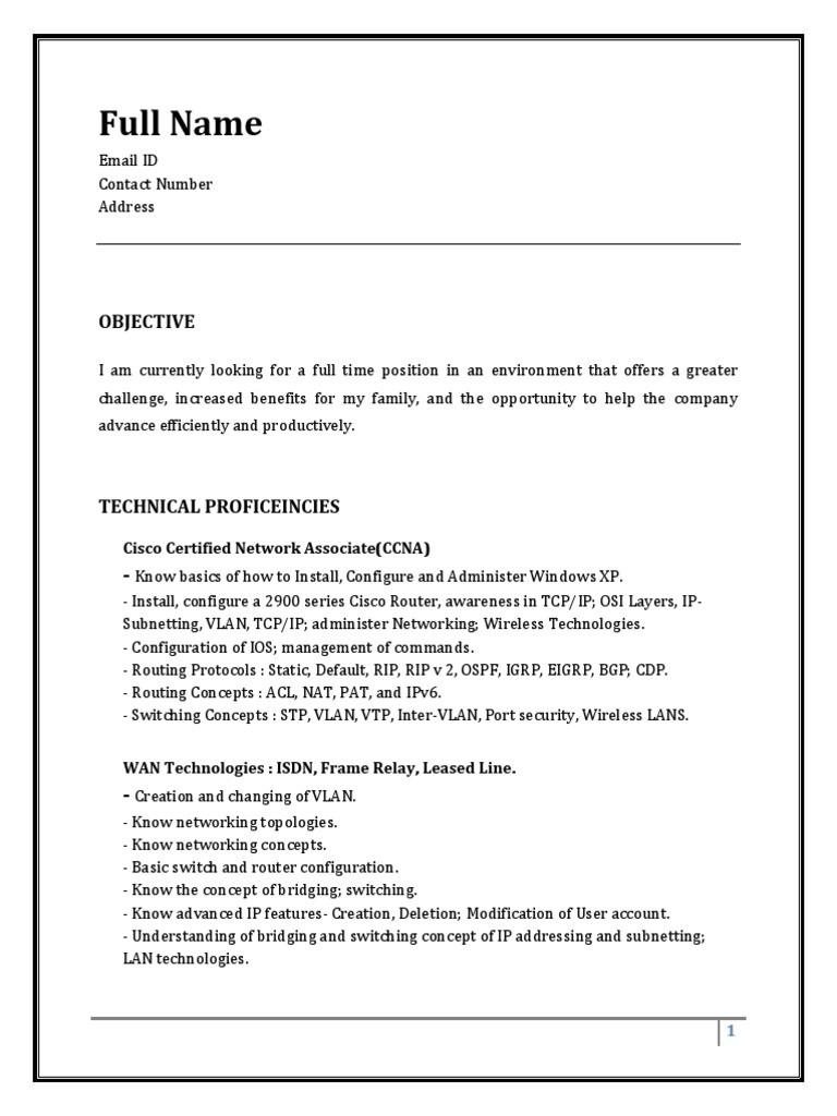 Sample Resume Fresher CCNA 1