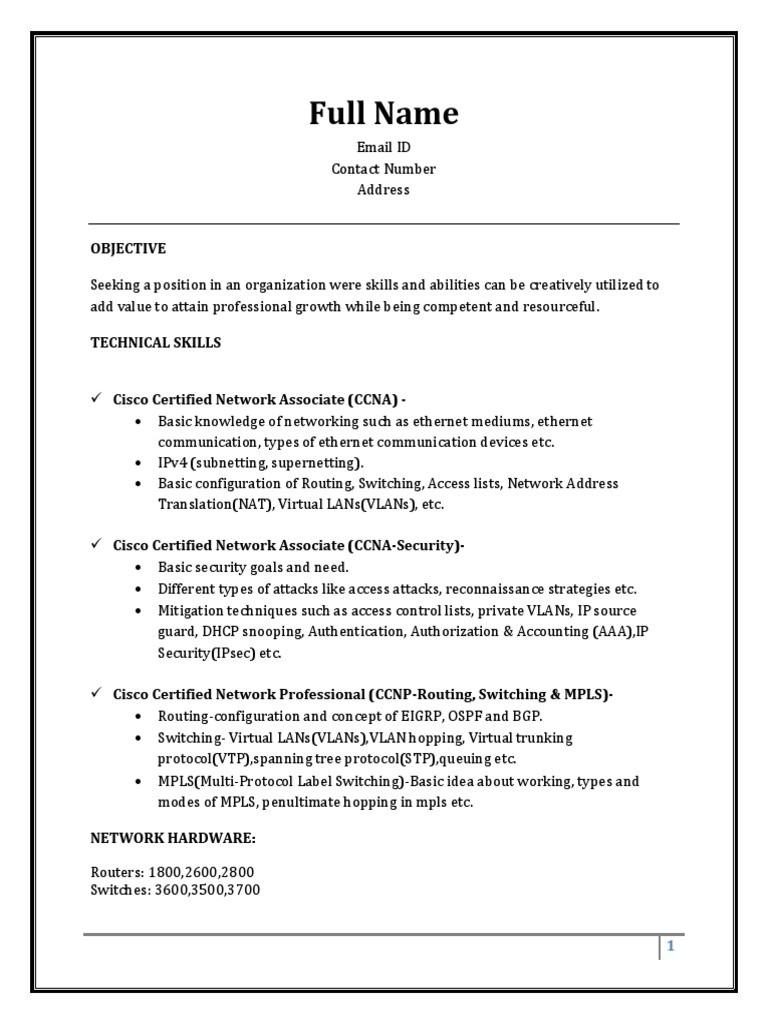 Sample Resume Fresher CCNA