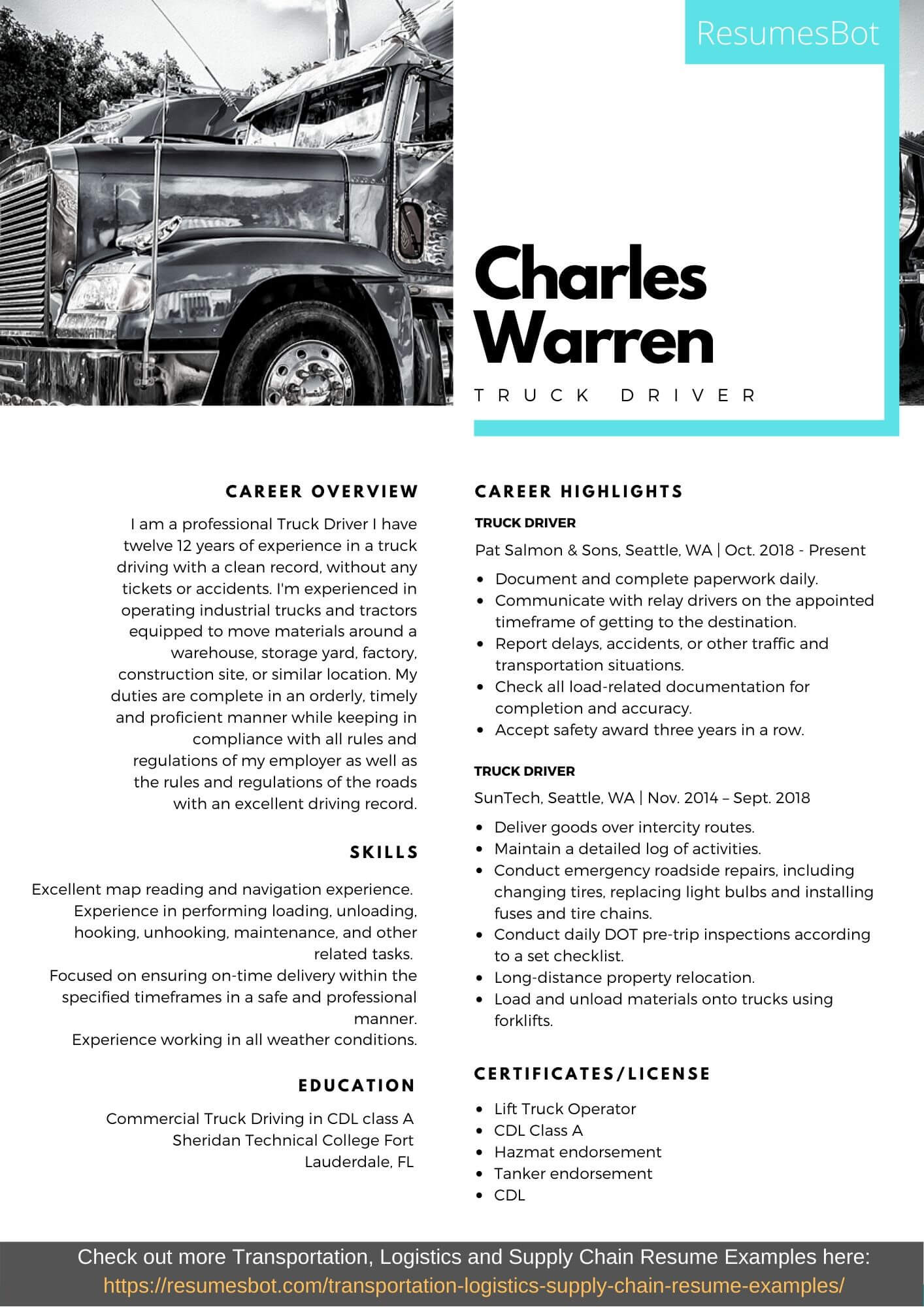 Cdl Class A Truck Driver Resume Sample Truck Driver Resume Samples and Tips [pdflancarrezekiqdoc] Resumes Bot