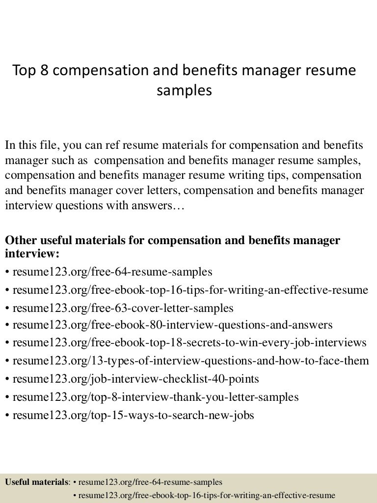 top 8 pensation and benefits manager resume samples