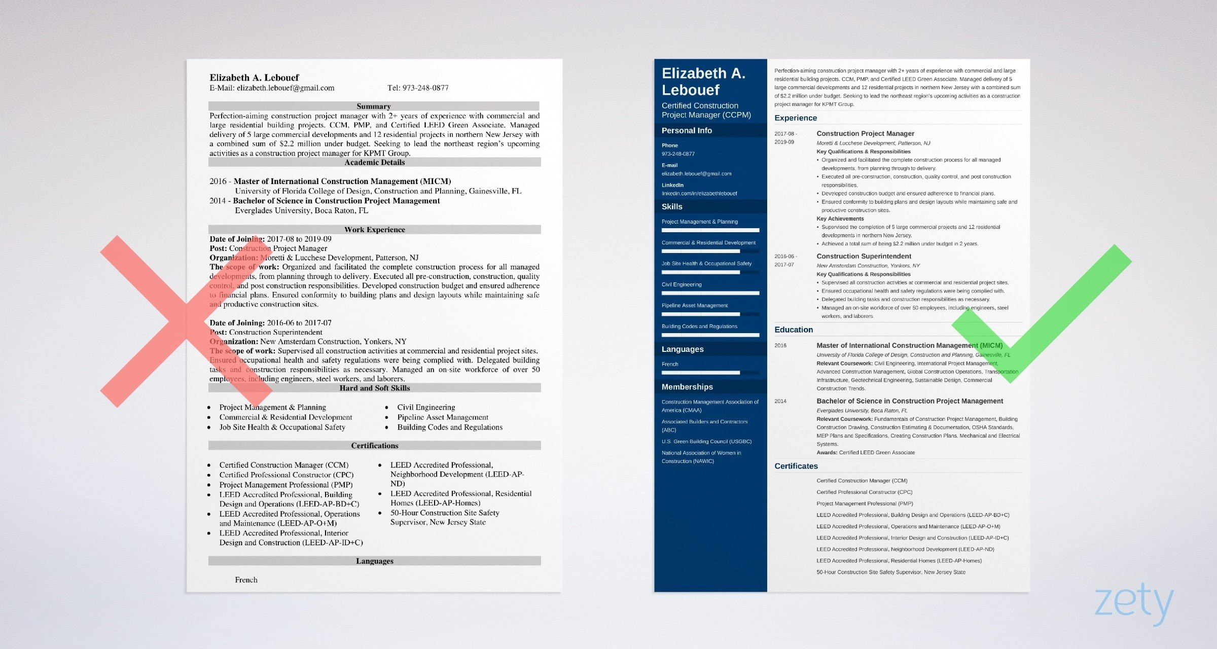 construction project manager resume example