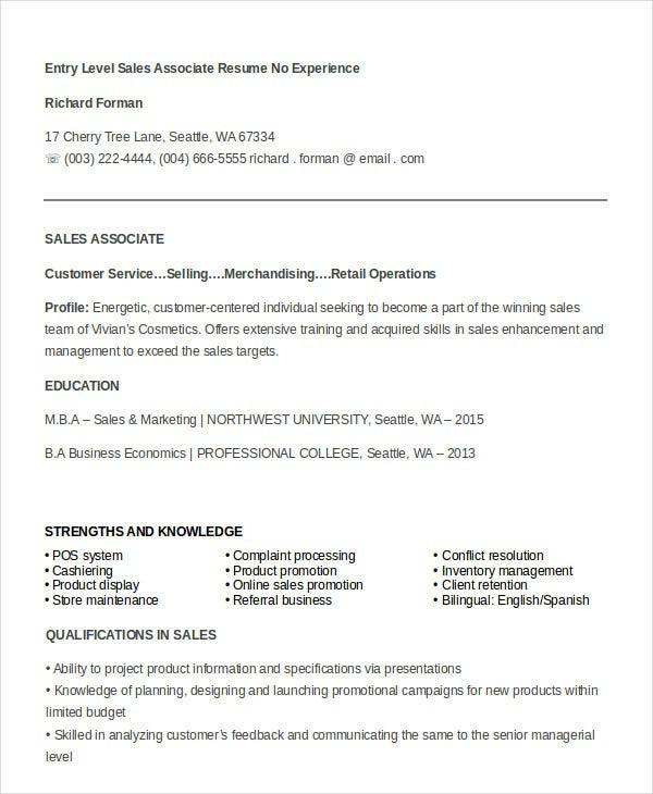 sample sales associate resume
