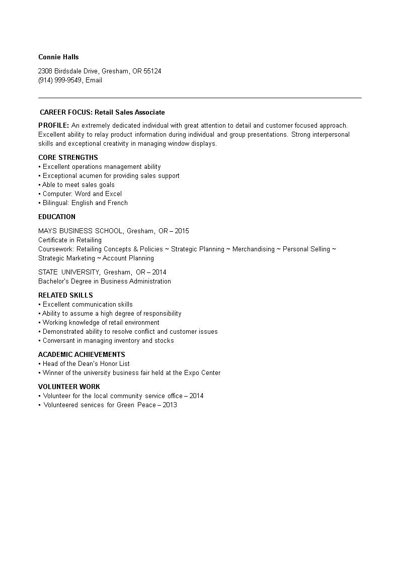 entry level retail sales associate resume