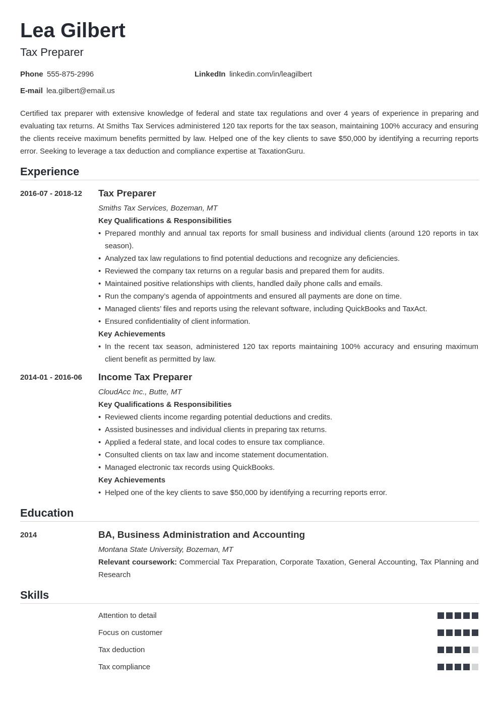 tax preparer resume example