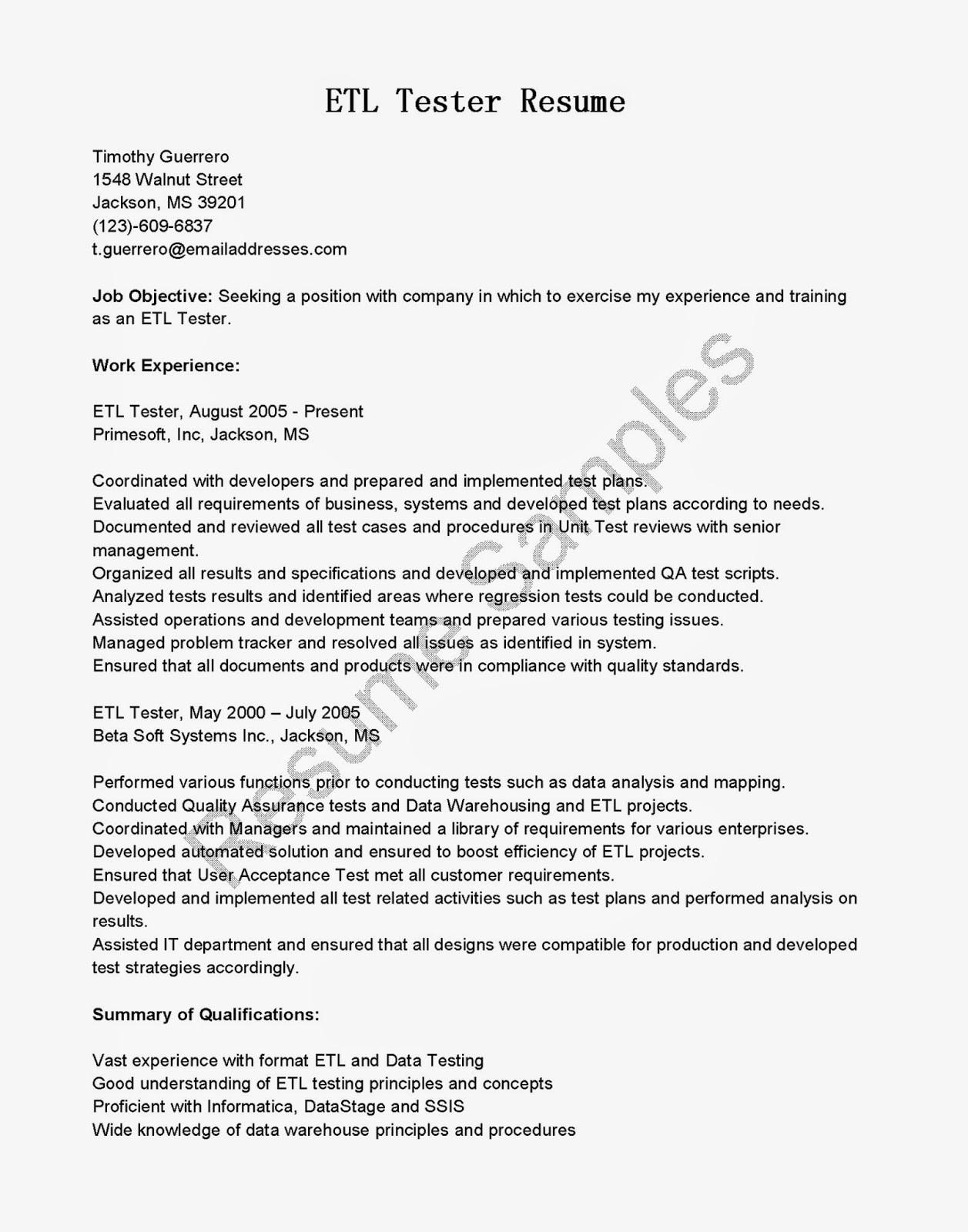 Etl Testing Sample Resume for Experienced Resume Samples Etl Tester Resume Sample