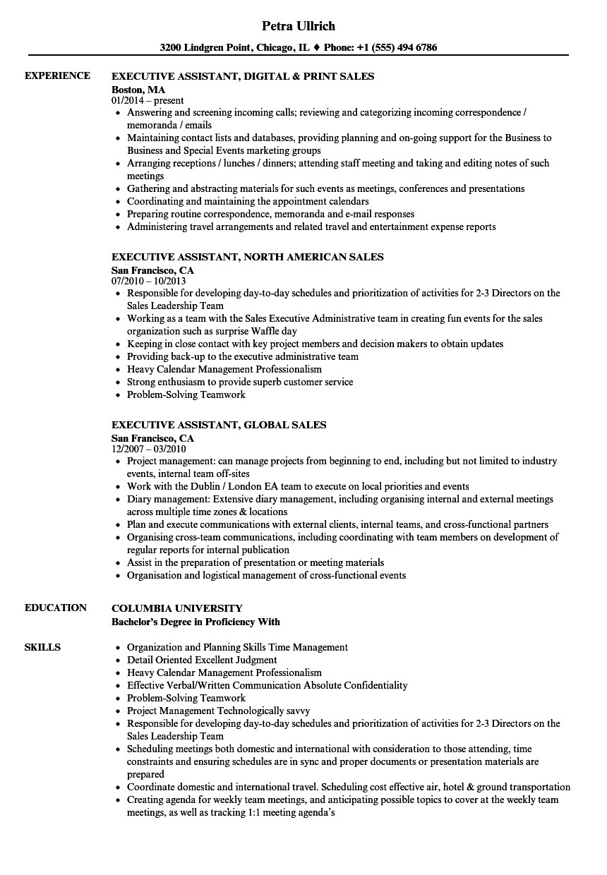 executive assistant resume sales executive assistant resume samples velvet jobs