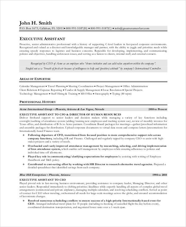 Executive assistant Job Description Resume Sample Free 8 Sample Executive assistant Job Description