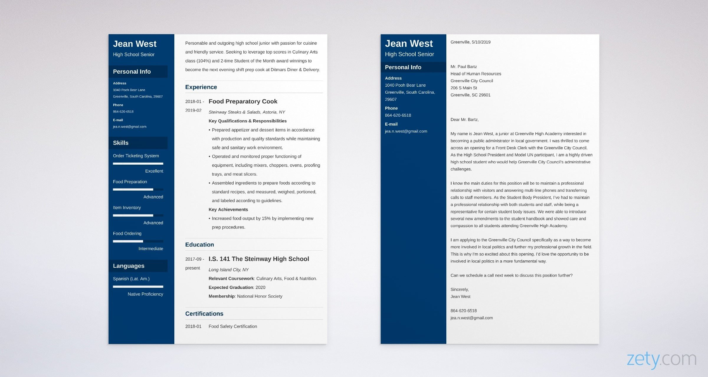 high school cover letter example