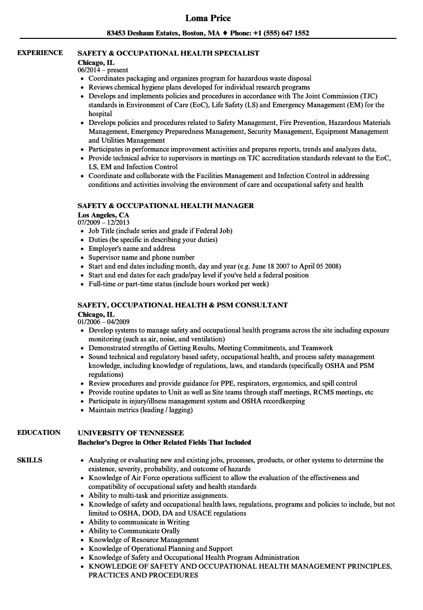 Occupational Health and Safety Officer Resume Samples Occupational Health Nurse Cv Template • Invitation