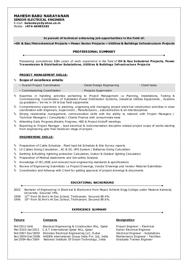 oil and gas electrical engineer resume