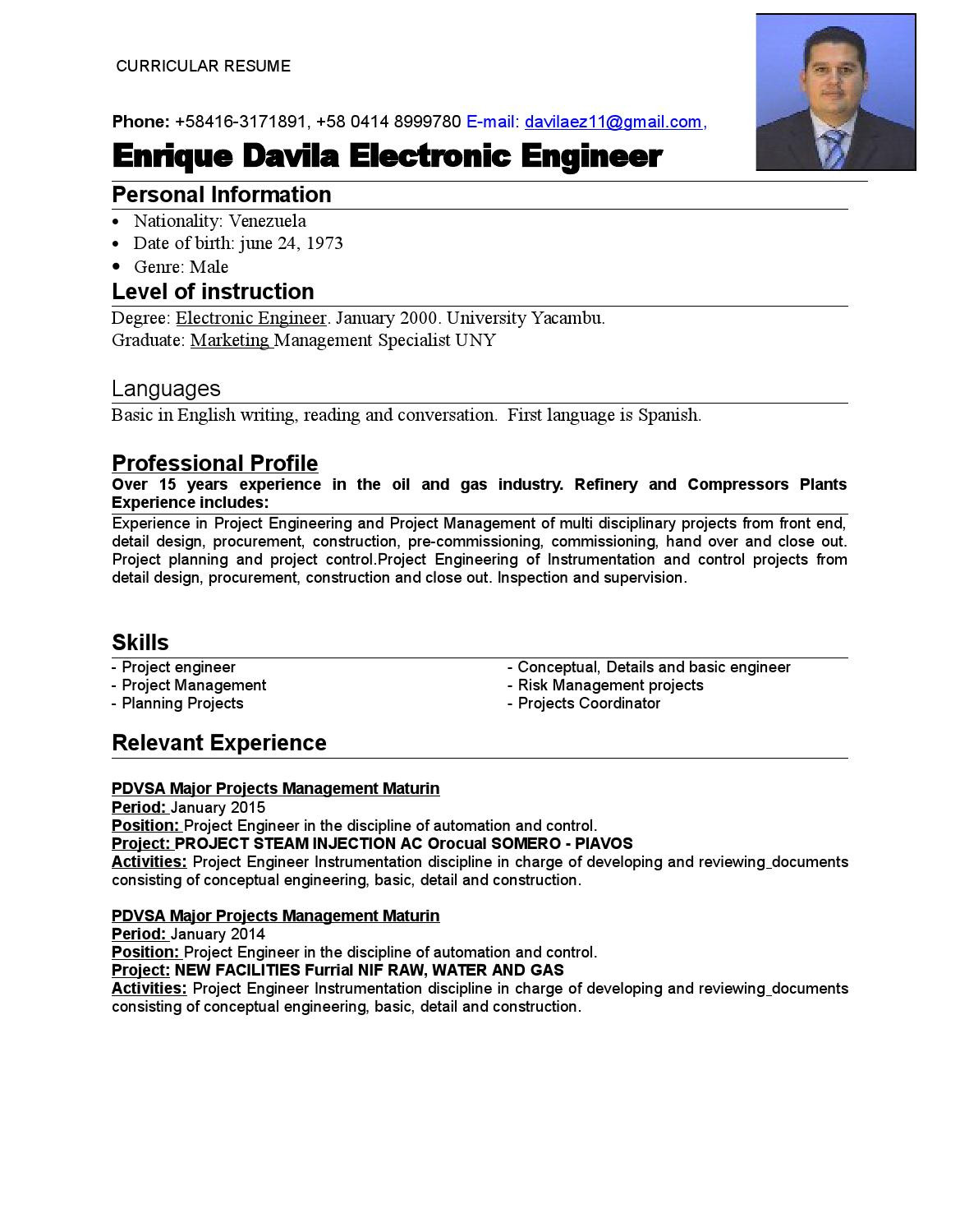 planning engineer cv oil and gas