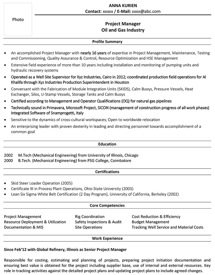 project manager cv samples