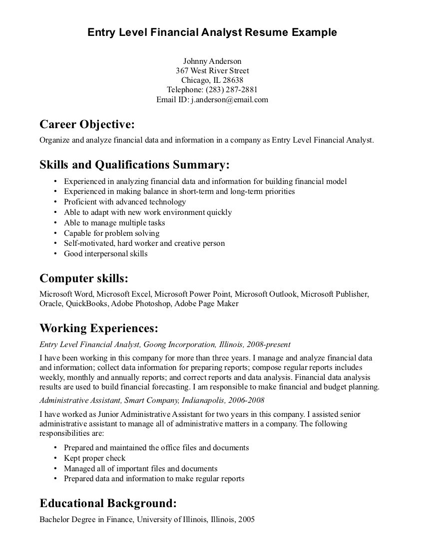 entry level resume examplesml
