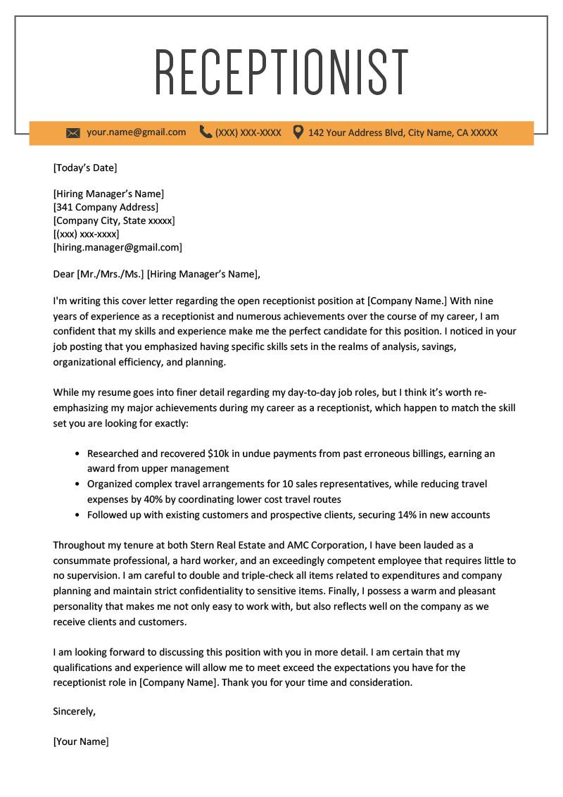 Sample Cover Letter for Resume Receptionist Receptionist Cover Letter Example