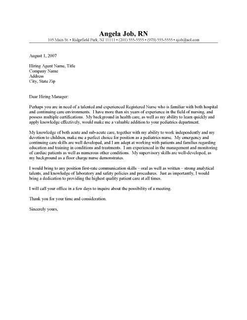 rn cover letter templates