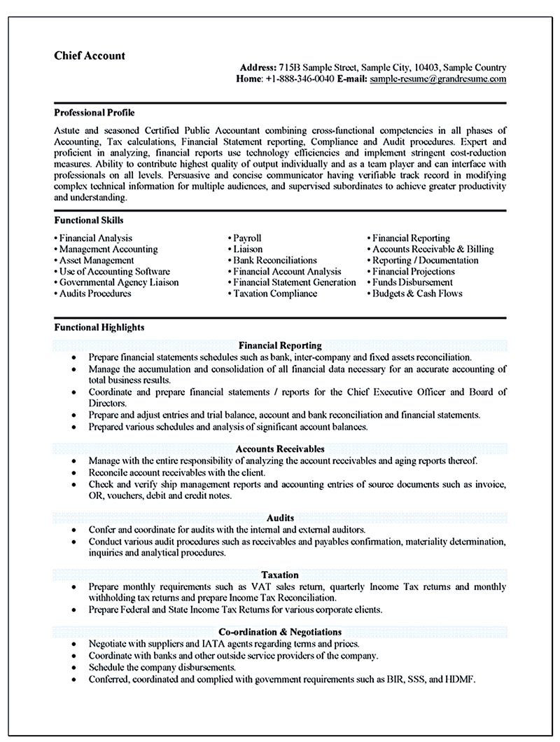 Sample Of Functional Resume for Accountant Accounting Resume Ought to Be Perfect In Any Way. if You Want to ...