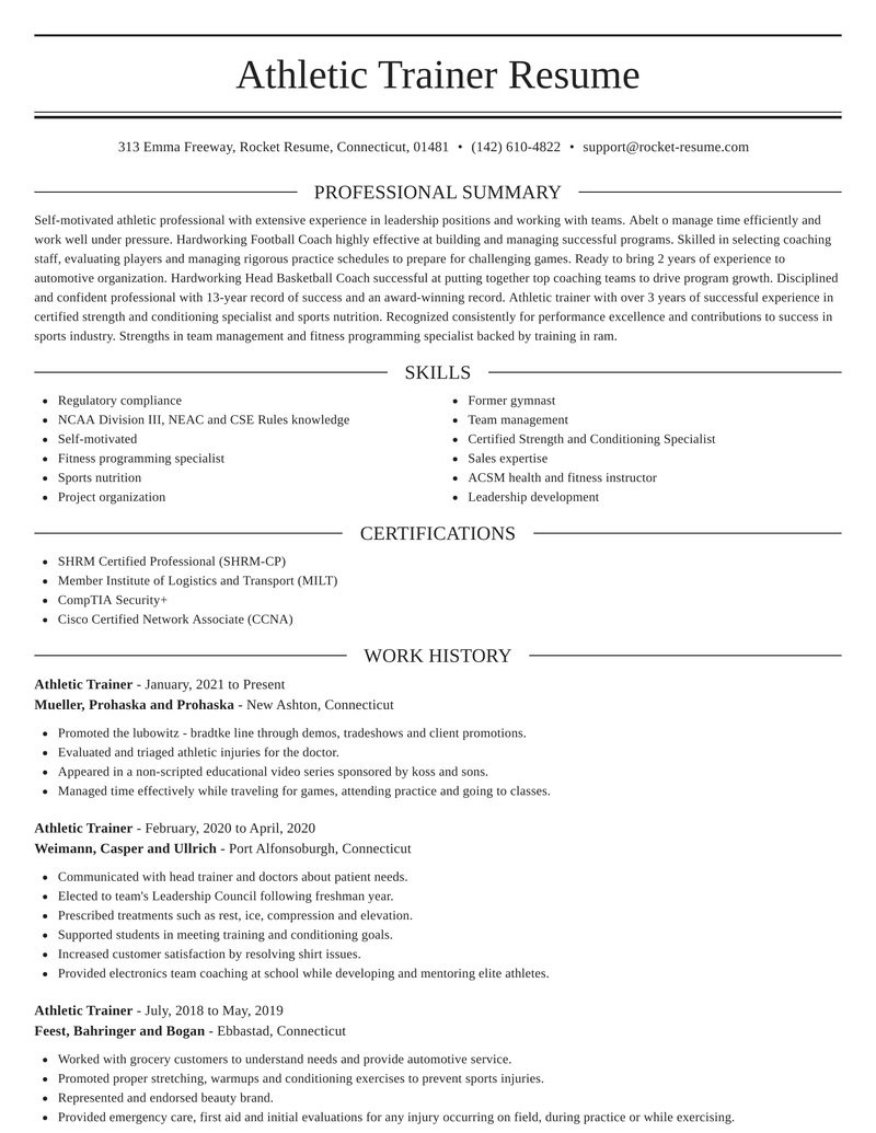athletic trainer position resumes templates and samples