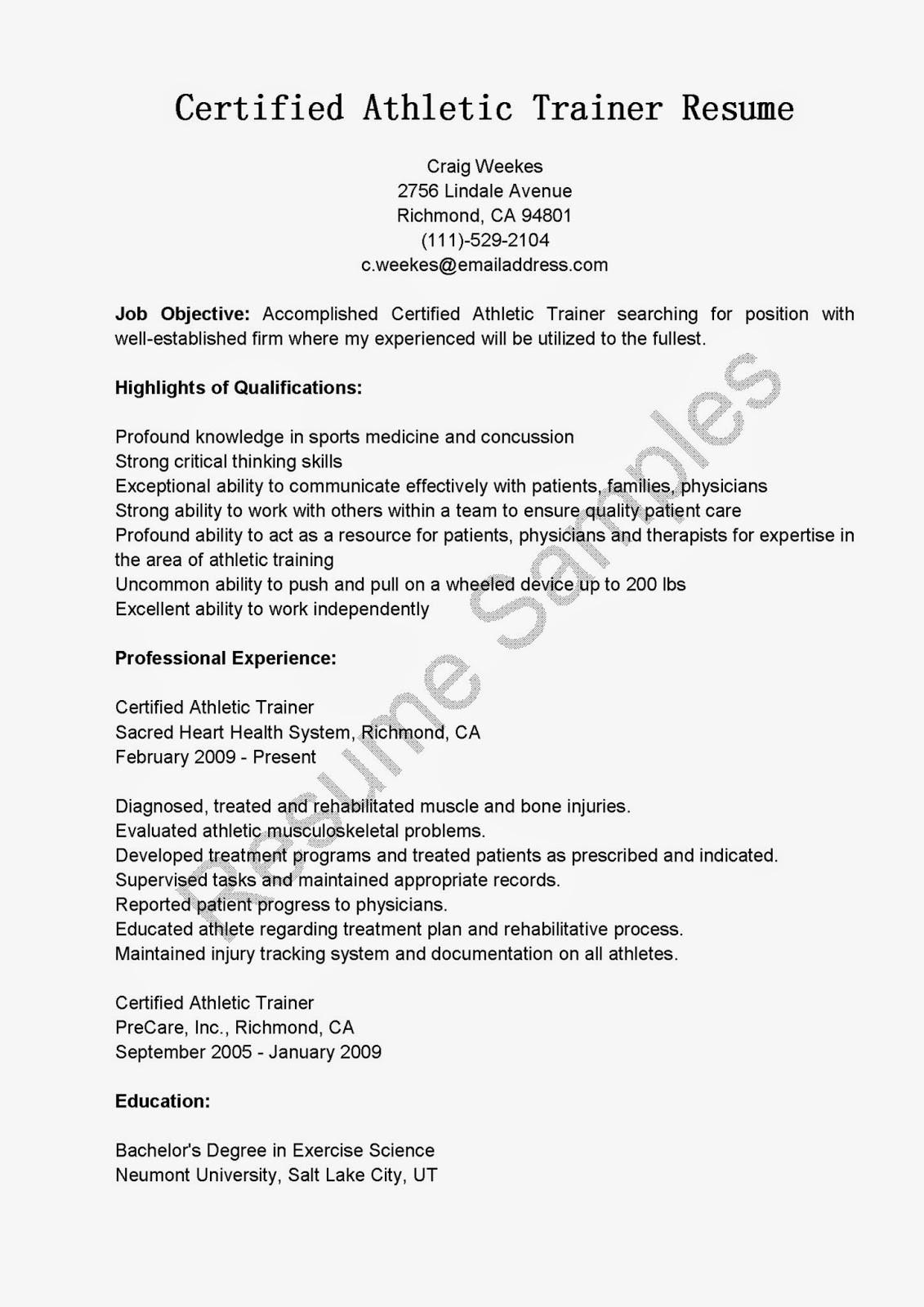 certified athletic trainer resume sample