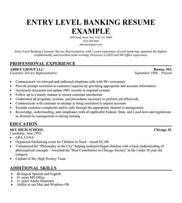 entry level bank resume