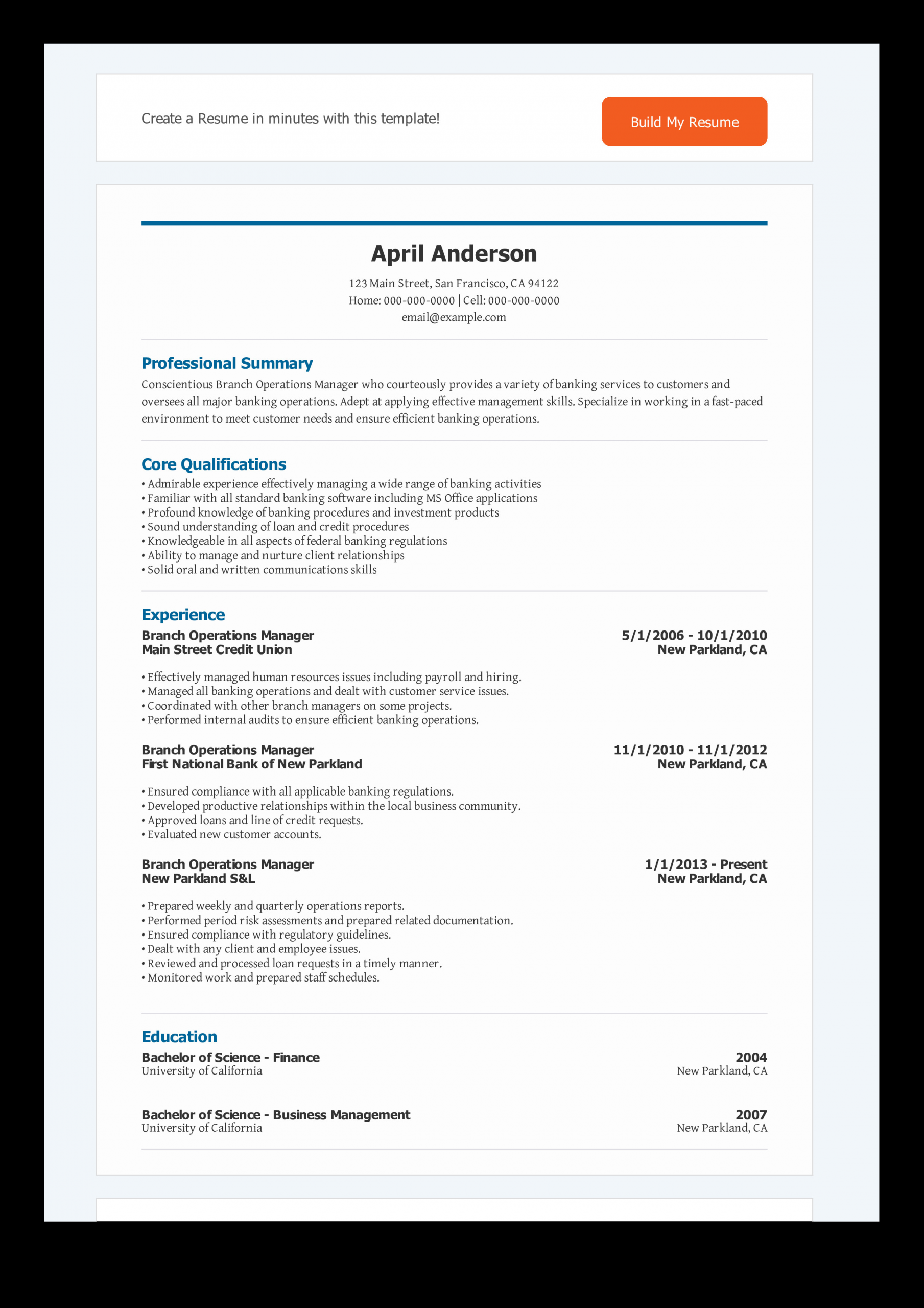 Sample Resume for Banking Operations Manager Banking Operations Manager Resume